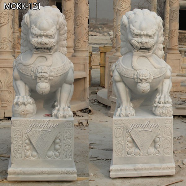 Classic White Chinese Marble Lion Statue for Gate from Factory Supply MOKK-121