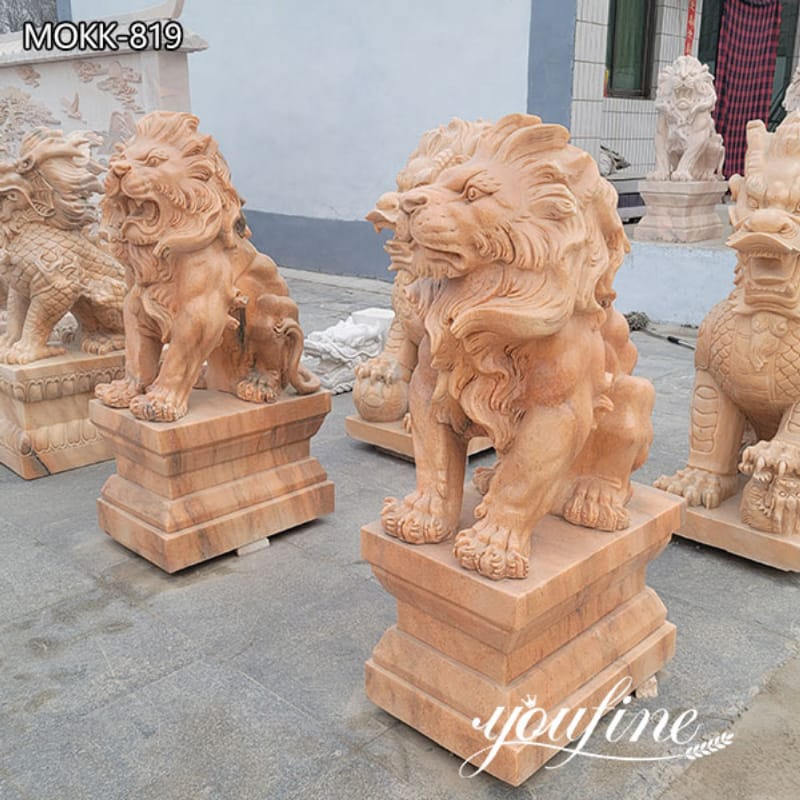 Hand Carved Natural High-quality Red Marble Lion Statue Decor on Sale MOKK-819