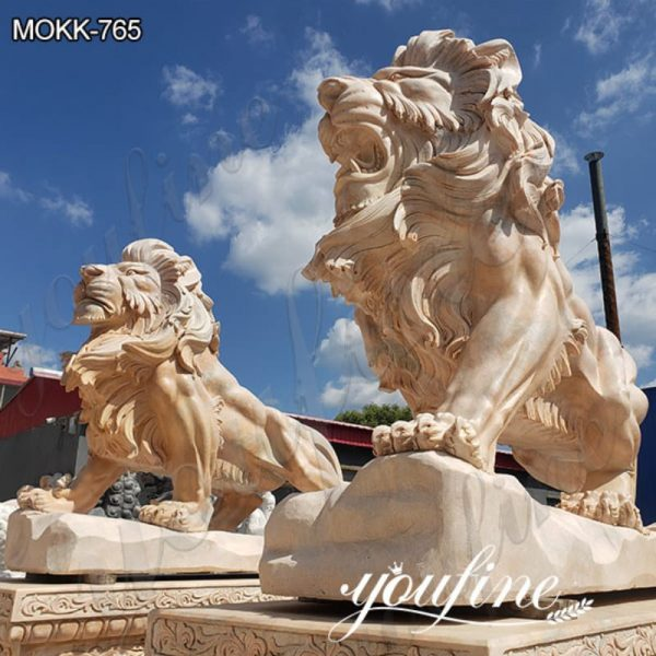 Hand Carved Western Marble Lion Statue Yard Decor for Sale MOKK-765 (6)