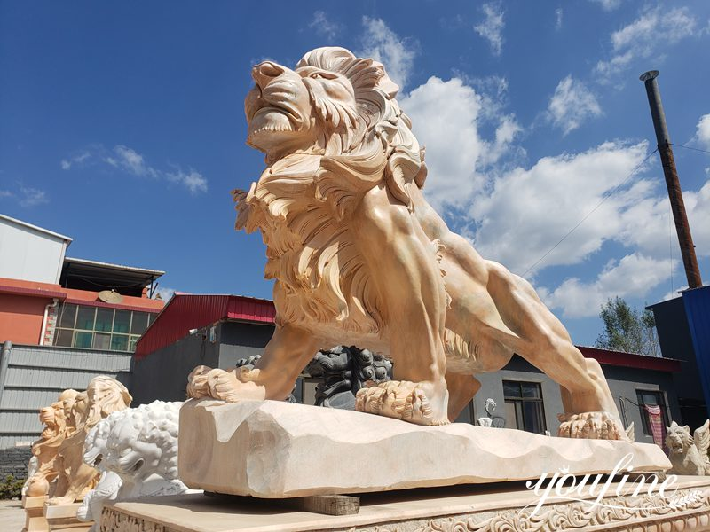 Life size marble lion statue (1)