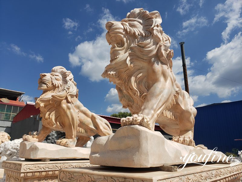Life size marble lion statue (2)