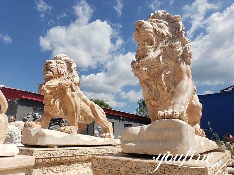 Life size marble lion statue (3)