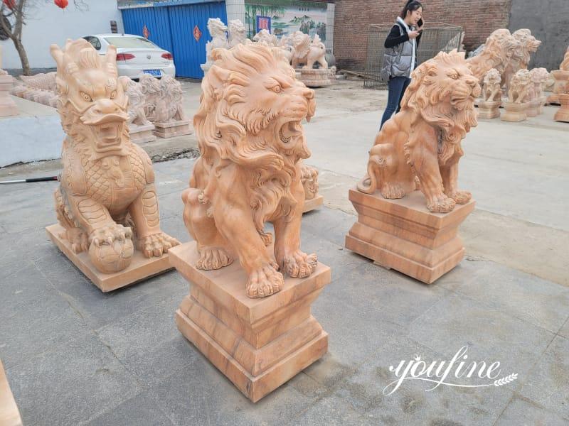 Marble Red Lion Statue Decor on Sale MOKK-819
