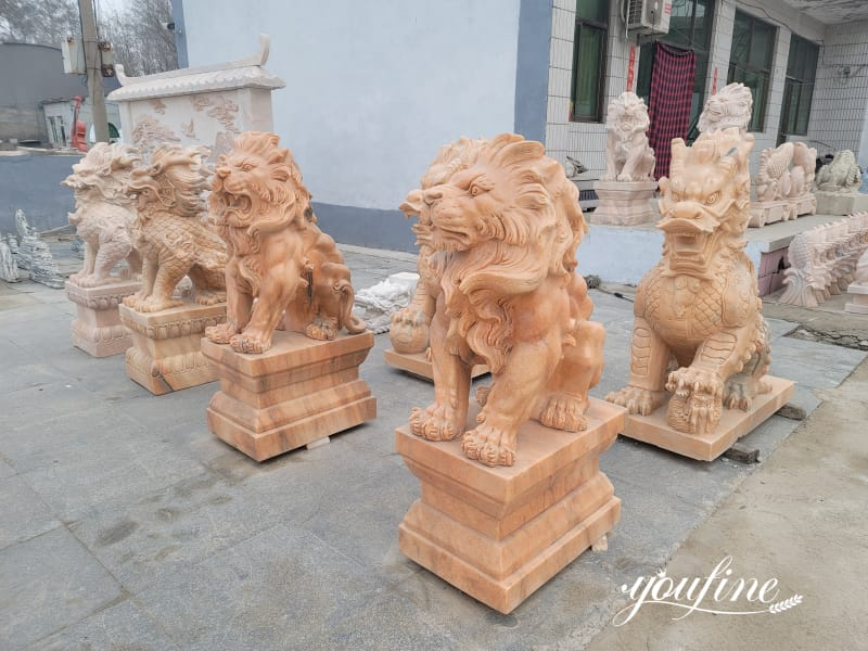Marble Red Lion Statue Decor
