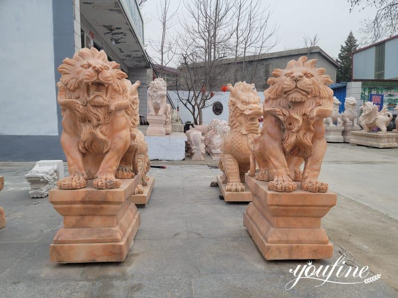 Red Lion Statue Decor on Sale