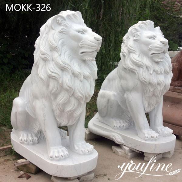 Hand Carved Marble Lion Sculpture for Front Porch for Sale MOKK-326