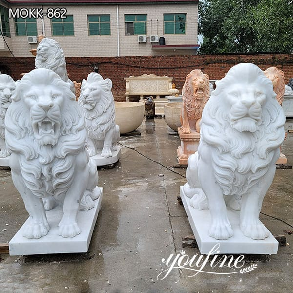 Hand Carved Marble Lion Statue for Front Porch for Sale MOKK-862