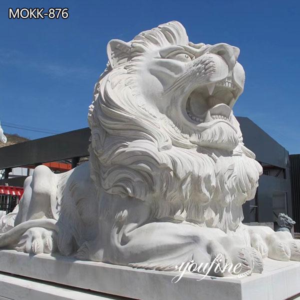 Natural Marble Lion Statue for Front Porch for Sale MOKK-876